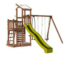 Aire de jeux pour enfant 2 tours avec portique et mur d'escalade - FUNNY Swing & Climbing 150 sans