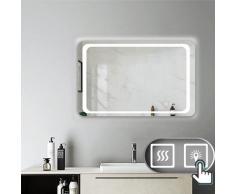 Miroir salle de bain 90x70cm anti-buée Mural Lumière Illumination avec éclairage LED