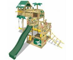 WICKEY Aire de jeux Portique bois Smart Castaway avec balançoire et toboggan vert Cabane enfant