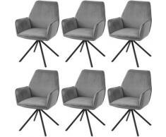 6x Chaise de salle à manger 851, chaise de cuisine, pivotante, auto-position ~ velours, gris foncé
