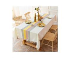 Ilovemono - ILoveManoMano Nappe à rayures en tissu simple, tapis de table anti-poussière en coton