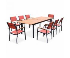 Salon de jardin en bois et aluminium Sevilla, grande table 200-250cm rectangle avec allonge