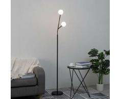 Lampadaire design noir et blanc à 2 boules - Fabrizio - Noir et blanc
