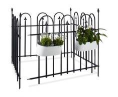 Clôture de jardin en métal lot de 4 en fer forgé jardin terrasse bordure poteau 4,8 m 90 x 120 cm