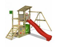 Aire de jeux FATMOOSE FruityForest Fun XXL Portique bois sur 3 niveaux, toboggan rouge et