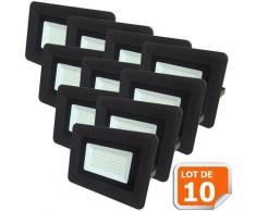 Lot de 10 LED Projecteur Lampe 50W Noir 6000K IP65 Extra Plat