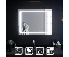 Miroir de salle de bain led rectangle 80x60 cm Commutateur infrarouge Anti-buée éclairage intégré