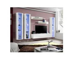Price Factory - Meuble TV FLY C2 design, coloris blanc brillant. Meuble suspendu moderne et