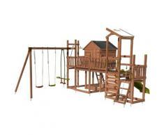Aire de jeux pour enfant maisonnette avec mur d'escalade et corde à grimper - COTTAGE CRAZY sans