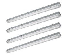 Lot de 4 tubes LED plafonnier garages parc maison lampe neutre blanc humide humide spots de pièce