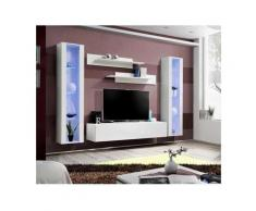 Meuble TV FLY A2 design, coloris blanc brillant + LED. Meuble suspendu moderne et tendance pour
