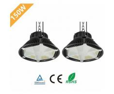 2× 150W UFO LED Anti-Éblouissement Suspension Industrielle LED Étanche IP65 Éclairage Haute Baie