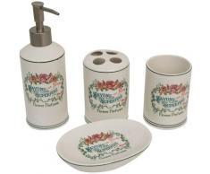 Set de salle de bains en porcelaine blanche composé par 4 pièces décorées Savons Superfines