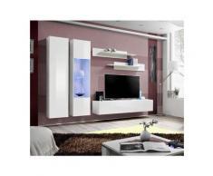 Meuble TV FLY A5 design, coloris blanc brillant + LED. Meuble suspendu moderne et tendance pour