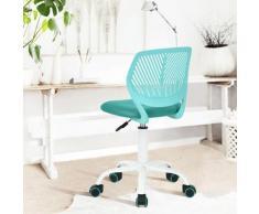 Chaise enfant étudiant réglable roulant métal turquoise blanc