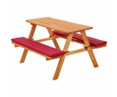 1 Table avec 2 Bancs de Pique Nique pour Enfant en Bois 89 cm x 79 cm x 50 cm Marron Rouge