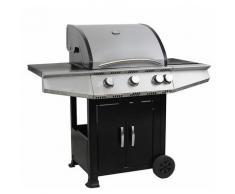 FAVEX - Barbecue Tarnos - 4 Feux à Gaz - dont 1 brûleur latéral - Grille + plaque de cuisson - 16,4