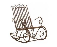 Chaise fauteuil à bascule rocking chair pour jardin en fer marron vieilli - marron
