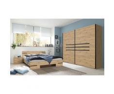 Pegane - Chambre à coucher complète adulte (lit 140x200cm + 2 chevets + armoire) coloris imitation
