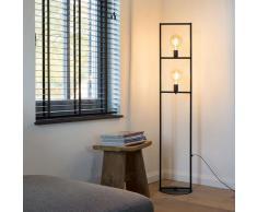 Lampadaire Industriel / Vintage 2 lumières noir - Simple Cage Industriel / Vintage Luminaire