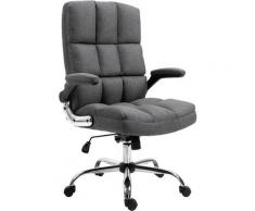 Chaise de bureau 489, chaise de bureau pivotante, réglable en hauteur ~ tissu/textile gris-foncé