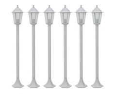 Lampe de jardin à piquet 6 pcs E27 110 cm Aluminium Blanc