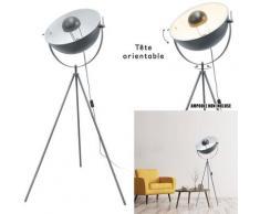 Lampadaire cinéma intérieur blanc - L 65 x l 65 x H 143 cm - Gris - Livraison gratuite