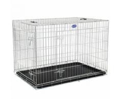 FEANDREA 2 Portes Cage pour chien pliable et transportable avec Poignées et Plateau 106 x 70 x