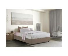 Lit Coffre Silvia double, Made in Italy, en tissu amovible, cm 140x190, ouverture frontale, Taupe,