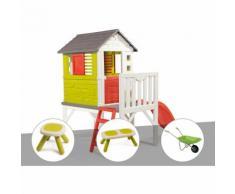 Cabane enfant Pilotis - Smoby + Tabouret + Banc + Brouette