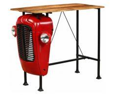 True Deal Table de bar Bois de manguier 60x120x107 cm Rouge Tracteur