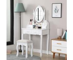 Coiffeuse avec miroir, 4 tiroirs, 1 tabouret et 2 parois - table de maquillage - blanche