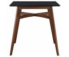 Table de bar carrée bois H91.5 cm LEENA - Noyer / noir