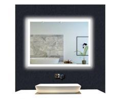 OCEAN Miroir de salle de bain 80x60cm anti-buée miroir mural avec éclairage LED modèle Carré 4.0