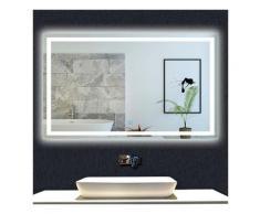 OCEAN Miroir de salle de bain 150x80cm anti-buée miroir mural avec éclairage LED modèle Carré
