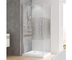 Porte de douche pivotante + paroi latérale 90 x 90 x 190 cm, verre de sécurité décor galets