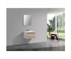 Ensemble salle de bain Easy 600 blanc - façade couleur chêne clair - en option miroir, armoire de