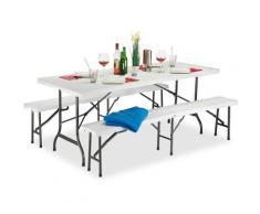 Set 3x Meubles 1 Table & 2 Bancs Pliants, Uni, Jardin Barbecue HLP 74x180x74,5cm, Blanc