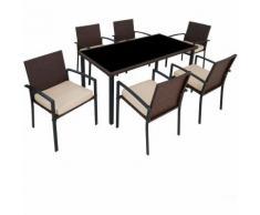 Salon de Jardin, Ensemble Mobilier de Jardin, 6 Chaises et 1 Table en Résine Tressée Structure