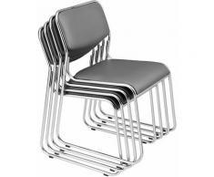Lot de 4 chaises de bureau de conférence empilable en similicuir gris cadre métal chromé - gris