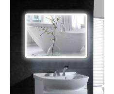 Oobest - Miroir mural de salle de bain, interrupteur tactile - Coins arrondis LCD - blanc froid