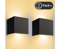 Applique Murale Interieur/Exterieur 12W Réglable Appliques Murales LED 3000K Blanc Chaud Lampe