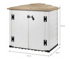 Coffre Rangement Résine Garden Box Tuscany 100 88x131x133 cm Blanc/Beige Blanc/Beige - gardiun