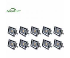 10×Auralum 30W Projecteur LED IP65 Éclairage Extérieur et Intérieur 2500-3000LM Spot LED Blanc