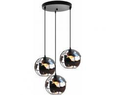 Suspension luminaire industrielle design cage forme globe terrestre noir , métal lustre abat-jour 3