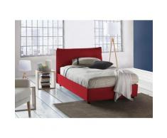 Lit Coffre Veronica double, Made in Italy, en tissu amovible, cm 120x190, ouverture frontale, Rouge