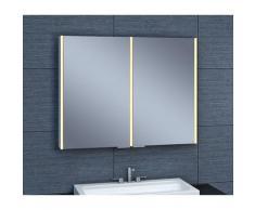 Pradel - Armoire de toilette aluminium - Modèle NEV 90 - 70 cm x 90 cm (HxL) - Gris