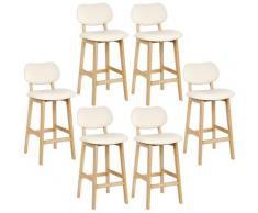 6*Tabouret de bar Tabouret de bar en bois avec dos Tabouret Tabouret de comptoir simili cuir blanc