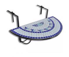VDTD26361_FR Table suspendue de balcon Bleu et blanc Mosaïque - Topdeal