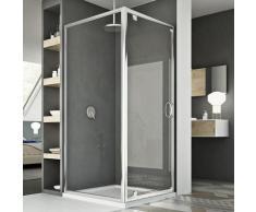 Parois cabine de douche pivotante verre transparent h 185 mod Sintesi duo 1 porte 75x80 ouv. 80 cm